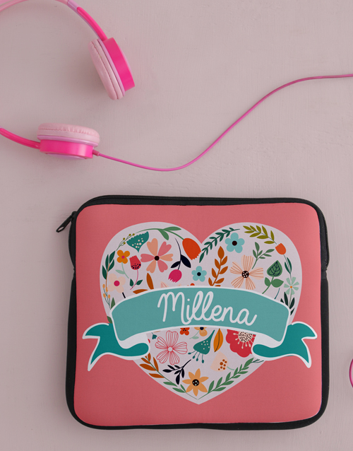 kids: Personalised Neoprene Floral Heart Tablet Cover!