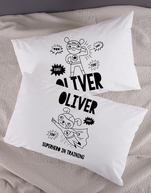 kids: Personalised Superhero Pillow Case Set!