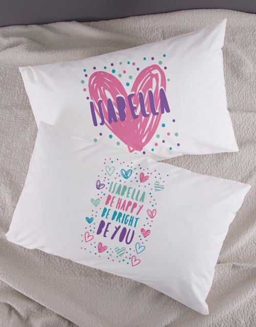 personalised: Personalised Bright Heart Pillow Case Set!