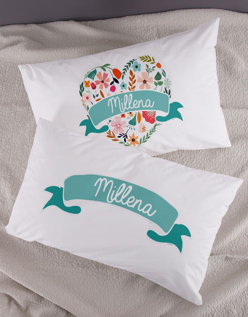 kids: Personalised Floral Heart Pillowcase Set!