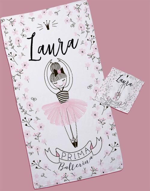 kids: Personalised Ballerina Towel Set!