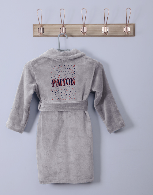 gifts: Personalised Stars Grey Fleece Gown!