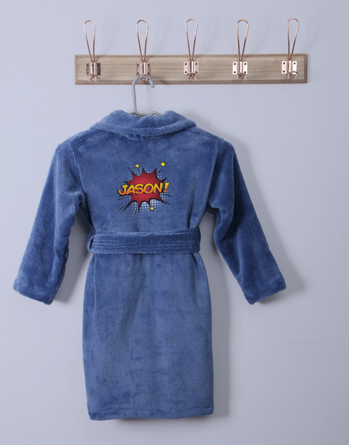 personalised: Personalised Super Blue Fleece Gown!
