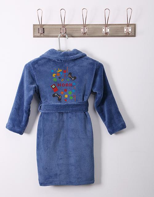 kids: Personalised Games Blue Fleece Gown!
