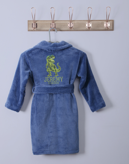 get-well: Personalised Trex Blue Fleece Gown!