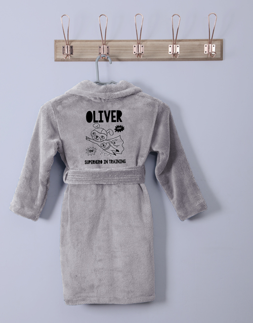 get-well: Personalised Superhero Grey Fleece Gown!