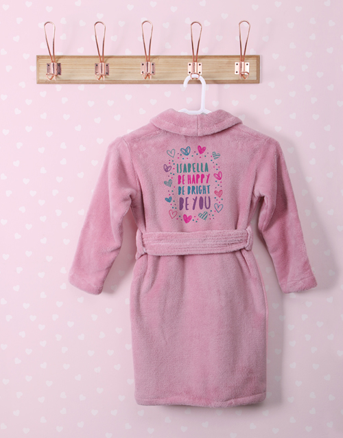 personalised: Personalised Bright Heart Pink Fleece Gown!