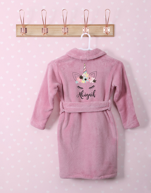 personalised: Personalised Unicorn Sparkle Pink Fleece Gown!