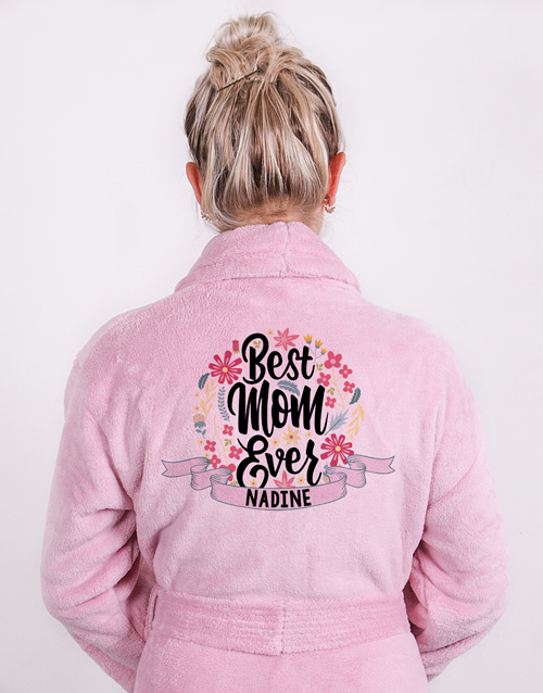 mothers-day: Personalised Best Mom Vintage Pink Fleece Gown!
