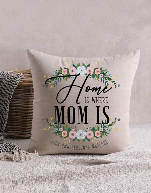 mothers-day: Personalised Home is Where Mom Scatter Cushion!