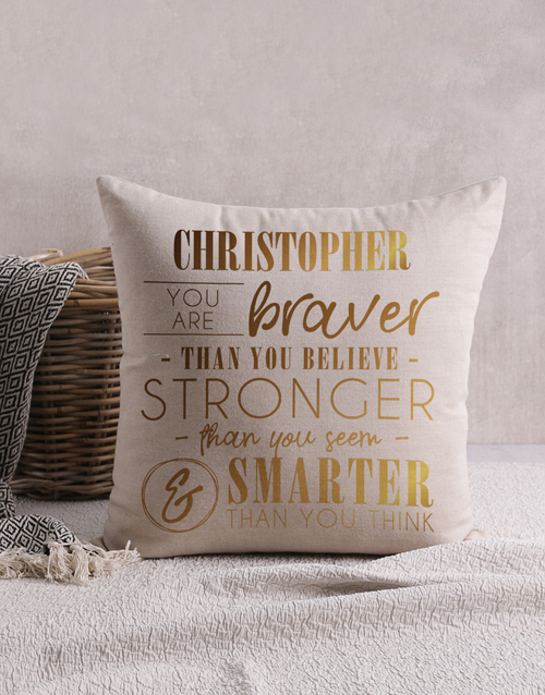 personalised: Personalised Gold Foil Braver Scatter Cushion!