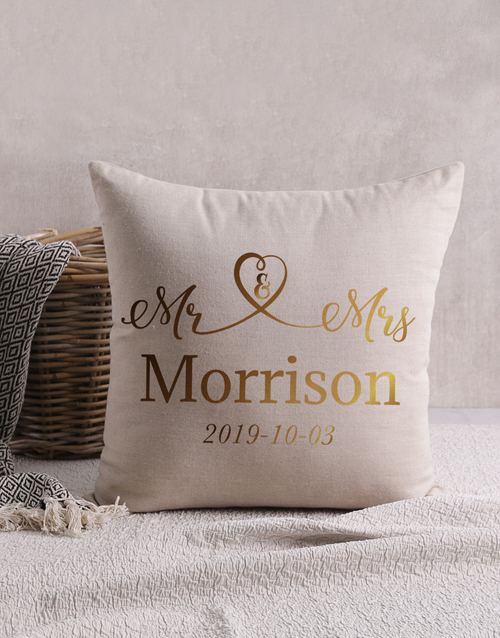 gifts: Personalised Gold Foil Mr and Mrs Scatter Cushion!