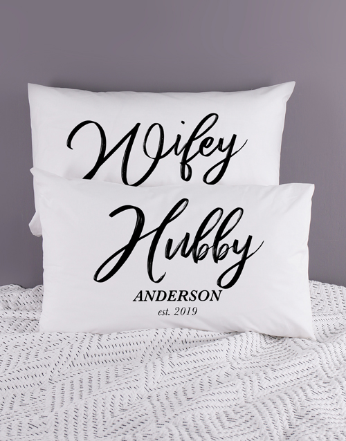 anniversary: Personalised Hubby and Wifey Pillowcase Set!