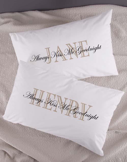 anniversary: Personalised Kiss Me Pillowcase Set!