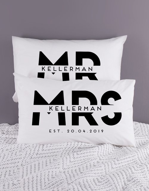 christmas: Personalised Block Mr and Mrs Pillowcase Set!