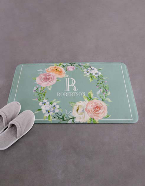 christmas: Personalised Floral Intial and Surname Bath Mat!