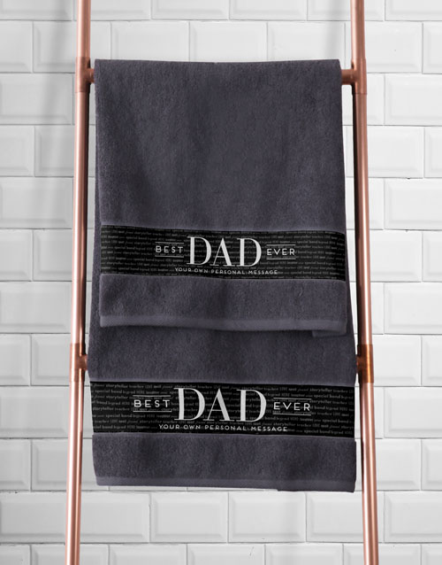 bath-and-body: Personalised Best Dad Grey Towel Set!