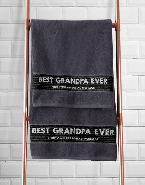 bath-and-body: Personalised Best Grandad Grey Towel Set!