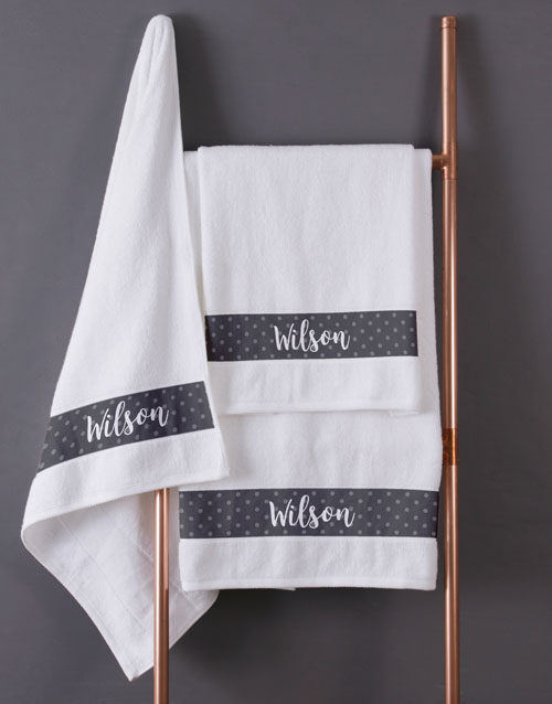 mothers-day: Personalised Polka Dot White Towel Set!
