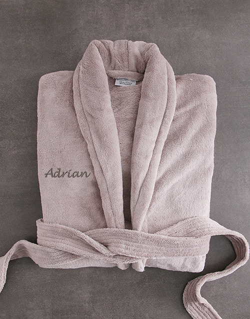 fathers-day: Personalised Taupe Fleece Gown!