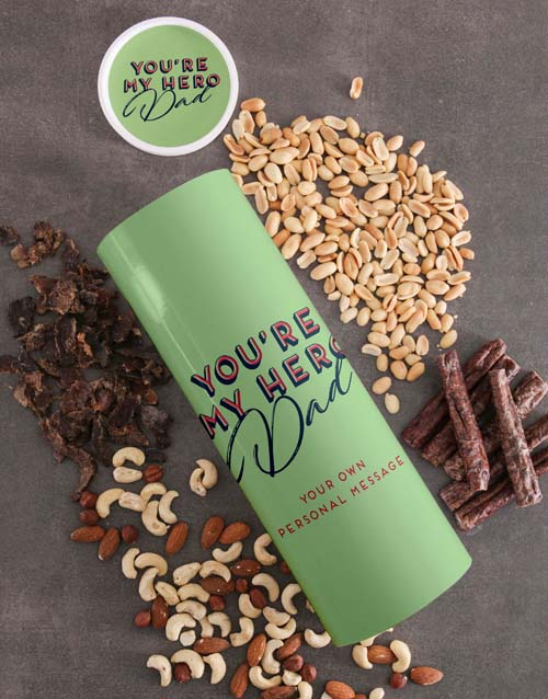 fathers-day: Personalised Hero Dad Biltong And Nuts Tube!