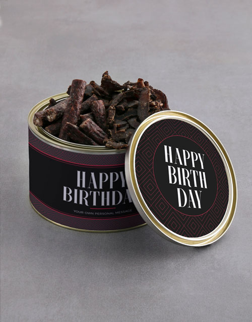 birthday: Personalised Birthday Biltong Tin With Chocs!