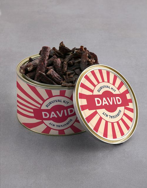 gourmet: Personalised Survival Kit Biltong Tin With Chocs!