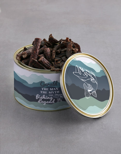 fathers-day: Personalised Fishing Biltong Tin With Chocs!