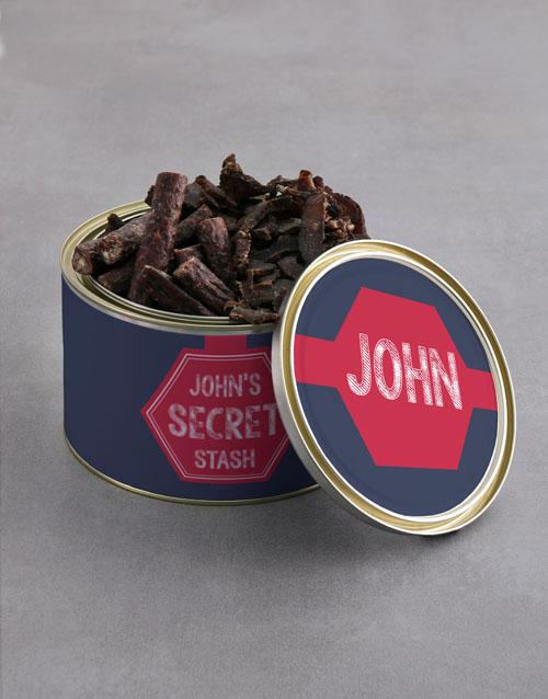 gourmet: Personalised Secret Stash Biltong Tin With Chocs!