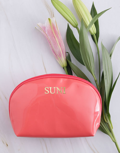 mothers-day: Personalised Embossed PU Coral Cosmetic Bag!