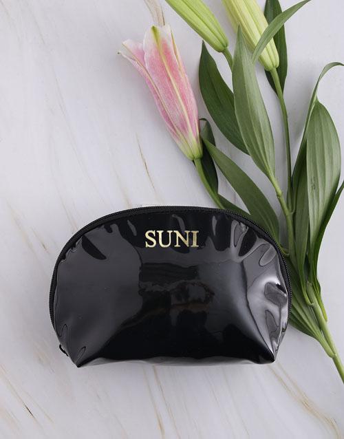 mothers-day: Personalised Embossed PU Black Cosmetic Bag!