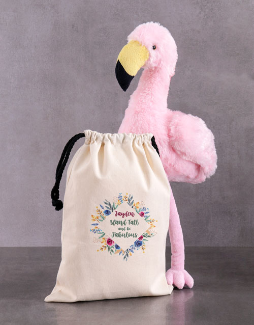 teddy-bears: Personalised Fluffy Flamingo In Drawstring Bag!