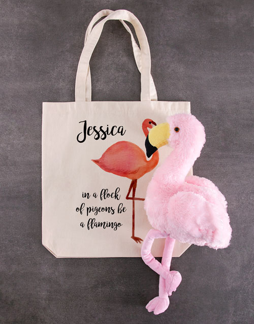 teddy-bears: Personalised Fluffy Flamingo Tote Bag!
