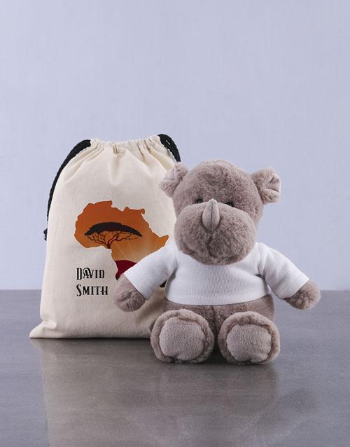 teddy-bears: Personalised Rhino Drawstring Bag!