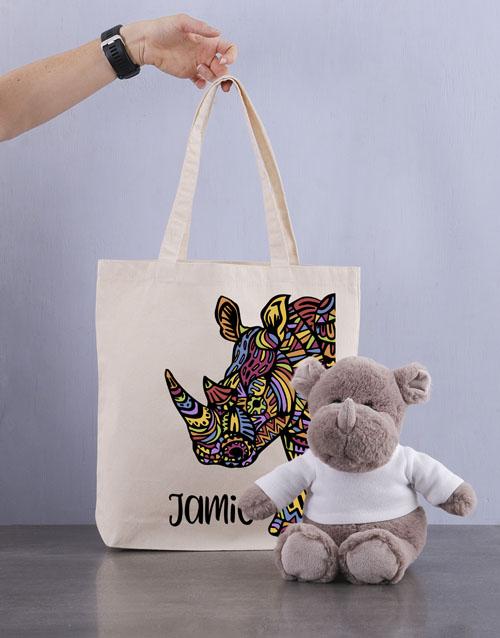 teddy-bears: Personalised Rhino Tote Bag!