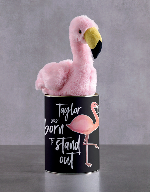 teddy-bears: Personalised Fluffy Flamingo Tin !