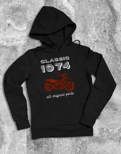 personalised: Personalised Year Classic Biker Hoodie!