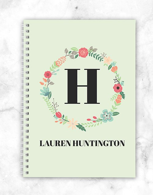 mothers-day: Personalised Floral Wreath Notebook!