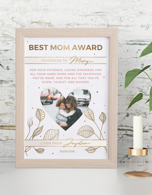 mothers-day: Personalised Best Mom Award Framed Wall Art!