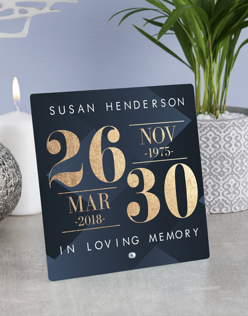 home-decor: Personalised Sympathy Dates Glass Tile!