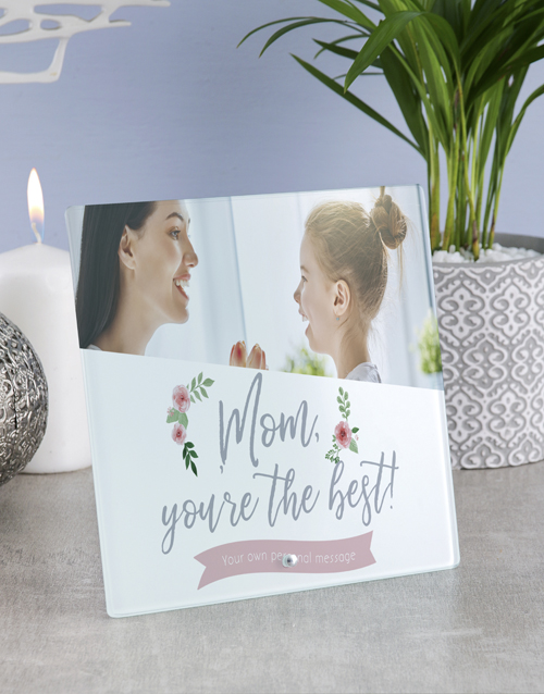 mothers-day: Personalised Mom You The Best Glass Tile!