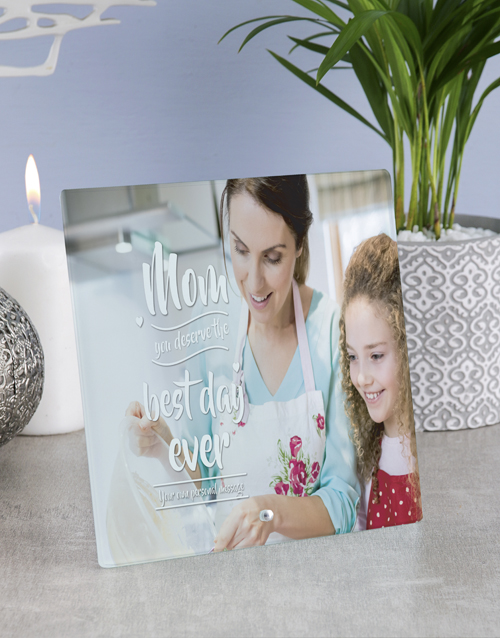 mothers-day: Personalised Mom Best Day Ever Glass Tile!