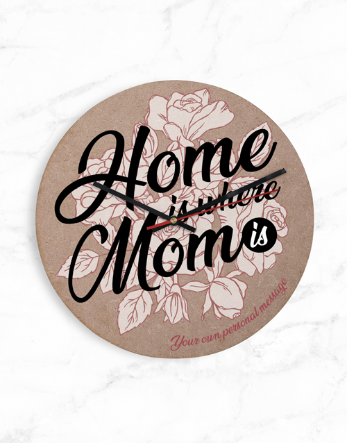 personalised: Personalised Home Is Where Mom Is Clock!