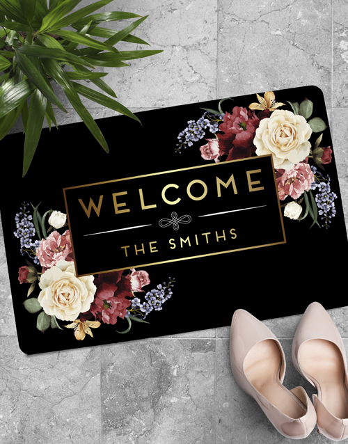 personalised: Personalised Floral Welcome Family Doormat !