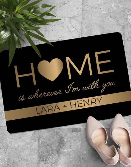 personalised: Personalised Home Is With You Doormat !