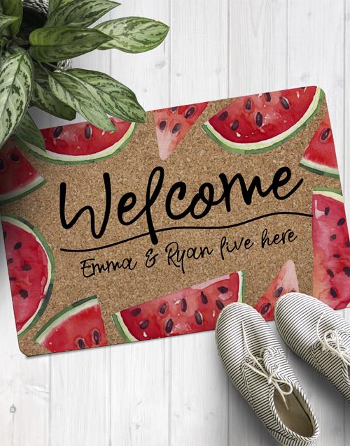 personalised: Personalised Welcome Watermelon Doormat !