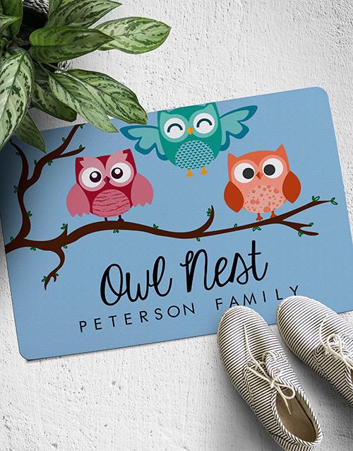home-decor: Personalised Owl Nest Doormat!