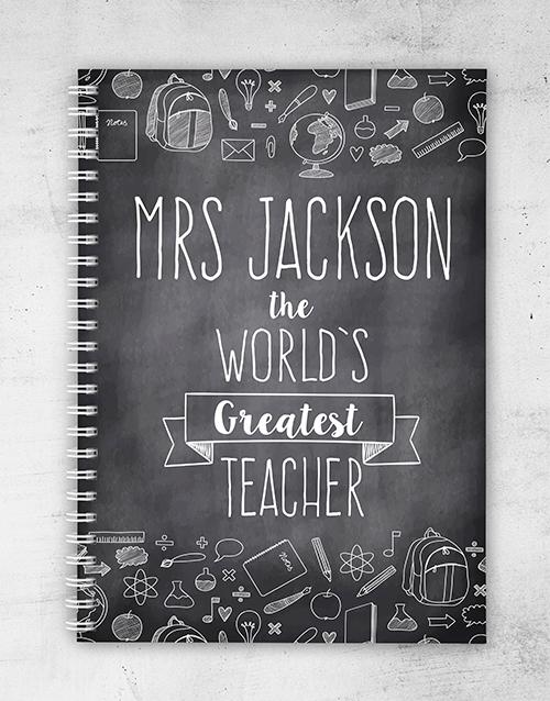 teachers-day: Personalised Chalk Board Greatest Teacher Notebook!