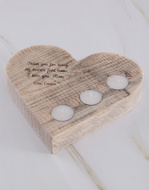 mothers-day: Personalised Hearts First Home Heart Candle Holder!