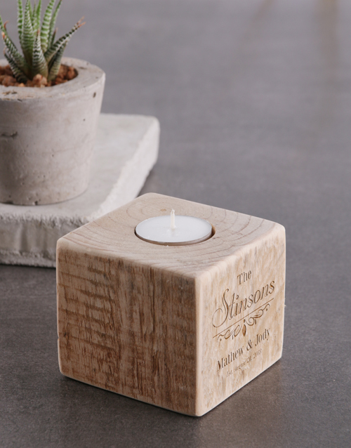 valentines-day: Personalised Couples Surname Square Candle Holder!